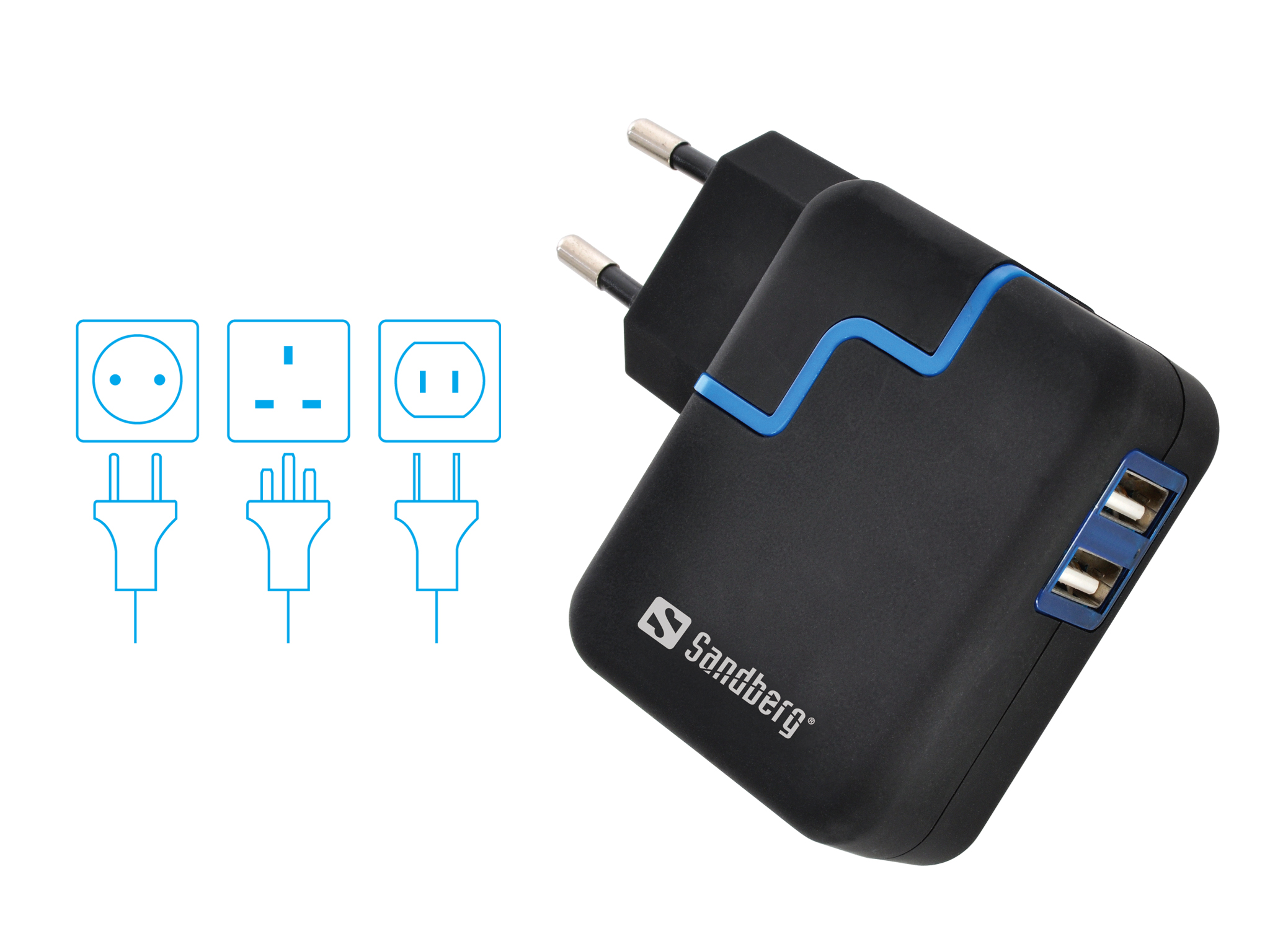 Excellence AC 4.8A 2xUSB EU+UK+US
