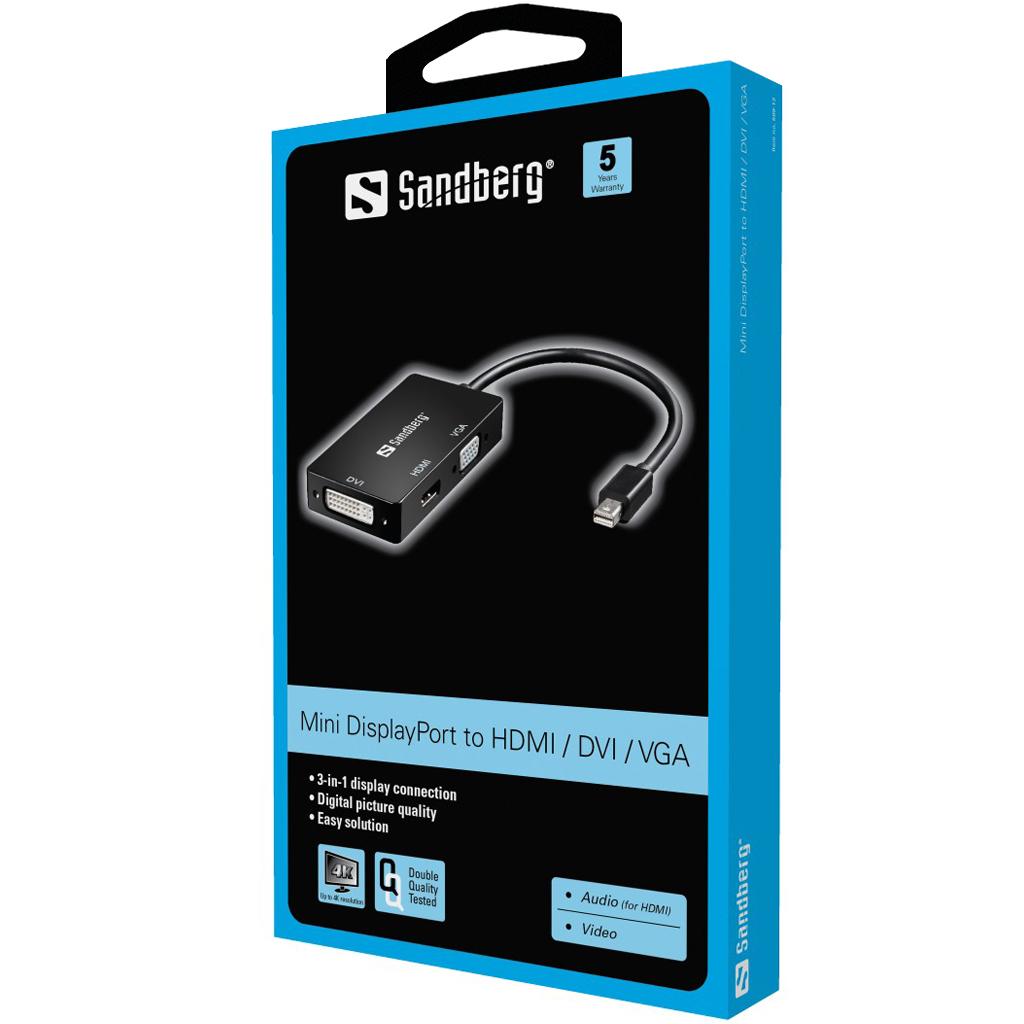 Sandberg Adapter Minidp Gt Hdmi Dvi Vga 509 12